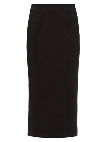Matchesfashion.com Alessandra Rich - Wool Blend Boucl Pencil Skirt - Womens - Black