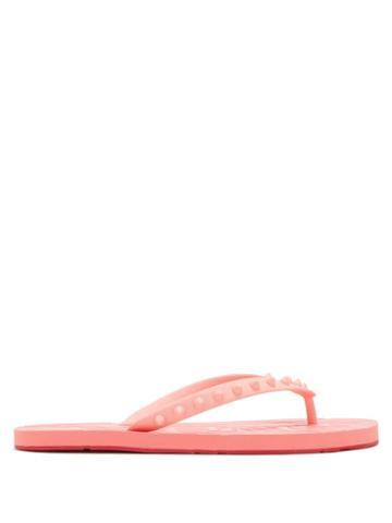 Matchesfashion.com Christian Louboutin - Loubi Studded Rubber Flip Flops - Womens - Pink