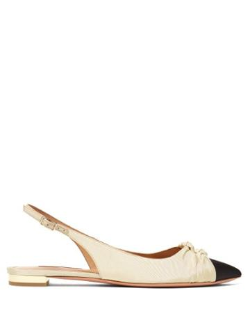 Matchesfashion.com Aquazzura - Mondaine Knotted Slingback Faille Flats - Womens - Black Cream