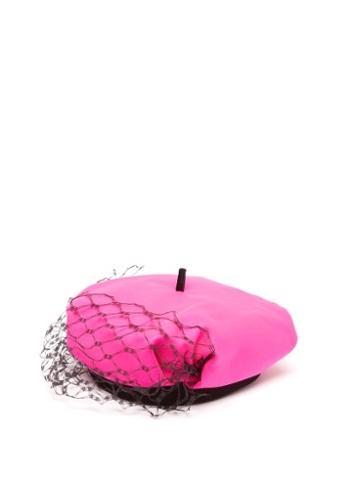 Stephen Jones - Dijon Veil Wool-blend Beret - Womens - Pink Multi