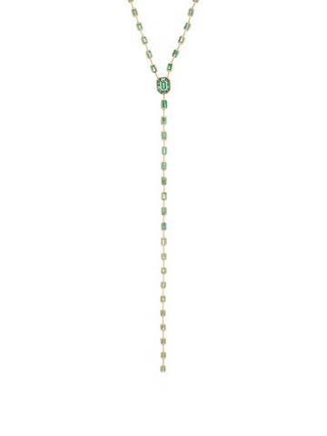 Matchesfashion.com Shay - Emerald & 18kt Gold Illusion Drop Necklace - Womens - Green Gold