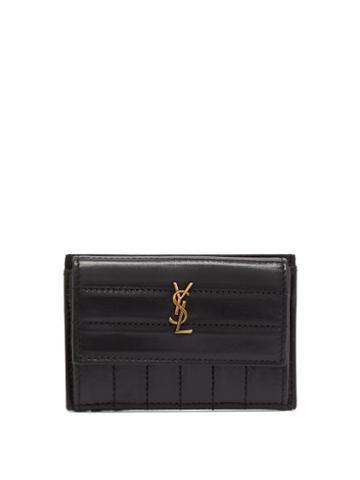 Matchesfashion.com Saint Laurent - Victoire Monogram Plaque Leather Cardholder - Womens - Black