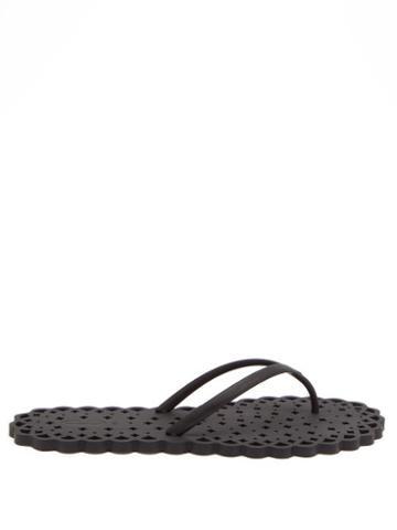Ladies Shoes Carlotha Ray - Laser-cut Rubber Flip Flops - Womens - Black