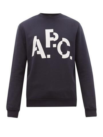 Matchesfashion.com A.p.c. - Logo Print Cotton Sweatshirt - Mens - Navy