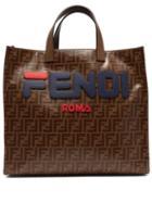 Matchesfashion.com Fendi - Mania Logo Appliqu Tote Bag - Womens - Brown Multi