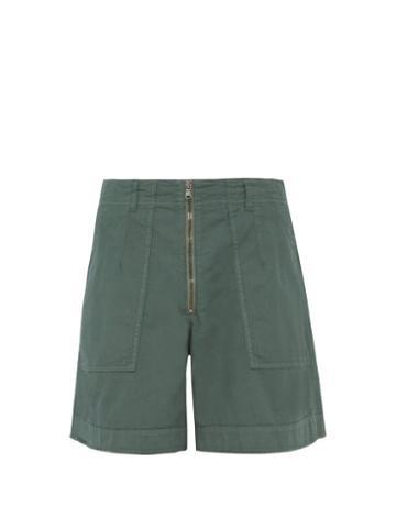 Matchesfashion.com Raey - Zip Cotton Twill Shorts - Mens - Green