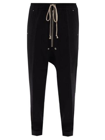 Rick Owens - Deep-rise Cotton-blend Jersey Track Pants - Mens - Black