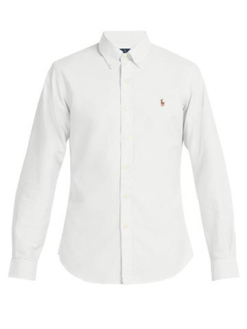 Matchesfashion.com Polo Ralph Lauren - Logo Embroidered Cotton Oxford Shirt - Mens - White