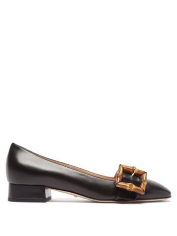 Gucci - Bamboo-buckle Leather Flats - Womens - Black