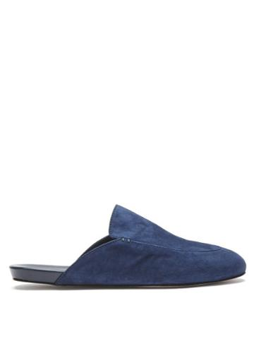 Matchesfashion.com Inabo - Slowfer Suede And Leather Slippers - Mens - Navy