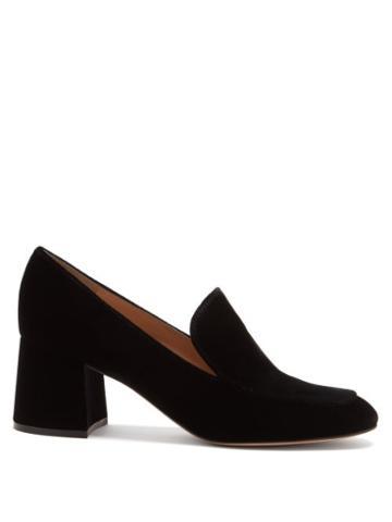 Matchesfashion.com Gianvito Rossi - Jean 60 Block-heel Velvet Loafers - Womens - Black