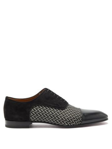 Matchesfashion.com Christian Louboutin - Greggo Chevron-jacquard Oxford Shoes - Mens - Black
