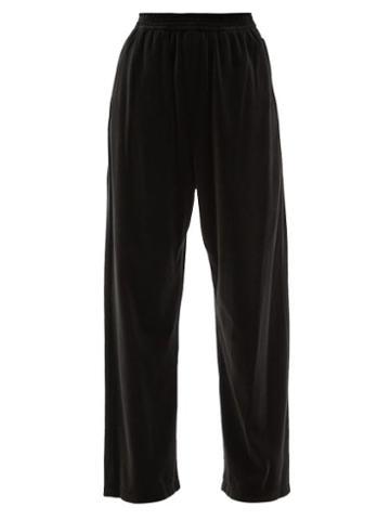 Balenciaga - Cotton-blend Velour Track Pants - Womens - Black