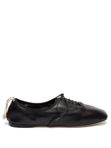 Matchesfashion.com Loewe - Square Toe Logo Tab Leather Oxford Shoes - Womens - Black