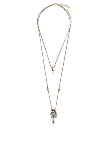 Alexander Mcqueen Embellished Beetle-pendant Double-strand Necklace