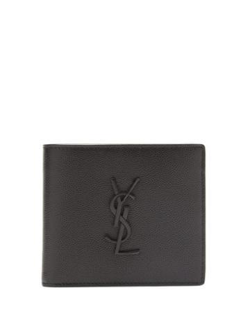 Matchesfashion.com Saint Laurent - Logo-plaque Bi-fold Leather Wallet - Mens - Black