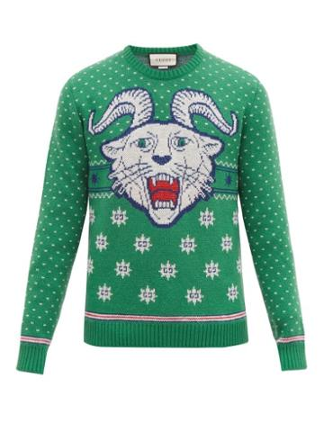 Matchesfashion.com Gucci - Tiger Jacquard Wool Blend Sweater - Mens - Green White