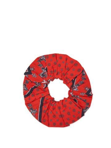Matchesfashion.com Ganni - Scarf Print Cotton Hair Scrunchie - Womens - Red
