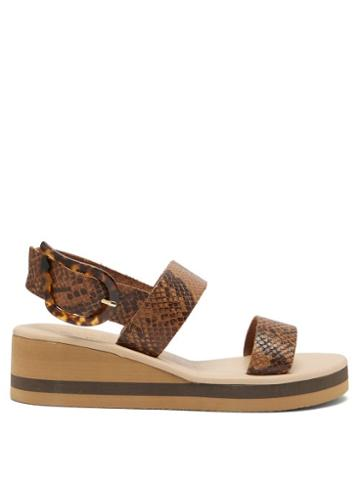 Matchesfashion.com Ancient Greek Sandals - Clio Rainbow Python-embossed Leather Wedges - Womens - Brown Multi
