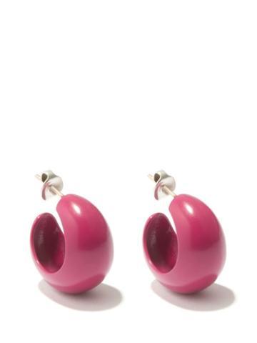 Isabel Marant - Sculpted-resin Small Hoop Earrings - Womens - Pink