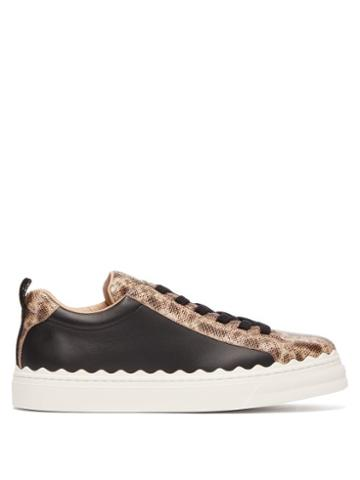 Matchesfashion.com Chlo - Lauren Scallop Edge Snake Effect Leather Trainers - Womens - Black Pink