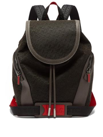 Mens Bags Christian Louboutin - Explorafunk Logo-embossed Canvas Backpack - Mens - Black Red