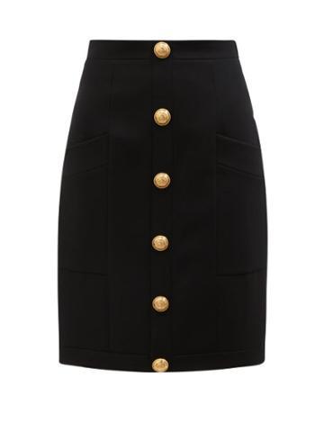 Balmain - High-rise Buttoned Wool Skirt - Womens - Black