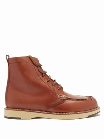 Matchesfashion.com Tod's - Topstitched Leather Ankle Boots - Womens - Tan