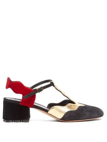 Matchesfashion.com Marni - Waved Velvet And Suede Sandals - Womens - Black Gold