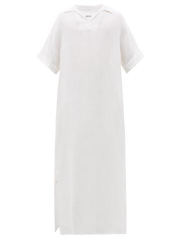Matchesfashion.com Hecho - Ribbed Silk And Linen Blend Kaftan - Mens - Cream
