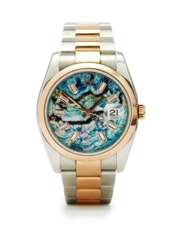 Jacquie Aiche - Vintage Rolex Datejust Diamond & Rose-gold Watch - Womens - Blue Multi