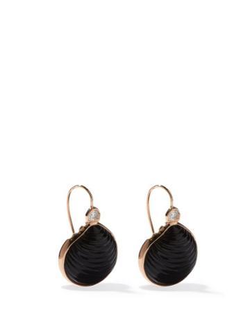 Matchesfashion.com Dezso - Venus Diamond, 18kt Rose-gold & Onyx Earrings - Womens - Black Multi