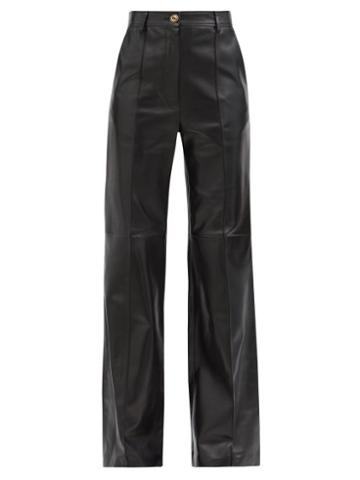 Matchesfashion.com Gucci - Flared Leather Trousers - Womens - Black