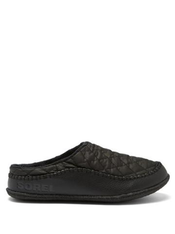 Matchesfashion.com Sorel - Lanner Ridge Quilted-shell And Leather Slippers - Mens - Black
