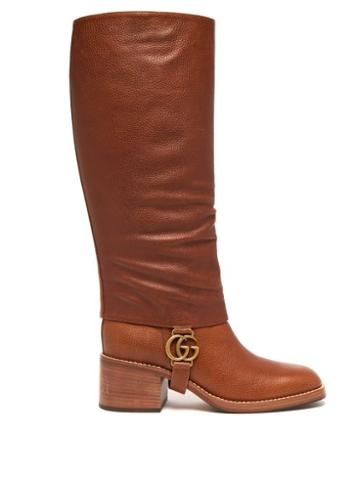 Matchesfashion.com Gucci - Lola Gg Plaque Gaiter Leather Boots - Womens - Tan