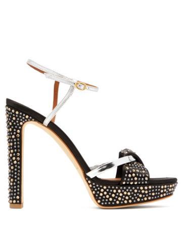 Matchesfashion.com Malone Souliers - Lauren Crystal Embellished Satin Platform Sandals - Womens - Black Silver