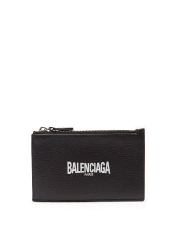 Balenciaga - Logo-print Zipped Grained-leather Cardholder - Mens - Black