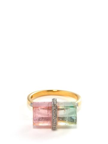 Jade Jagger - Rocktagon Diamond, Tourmaline & 18kt Gold Ring - Womens - Pink Gold