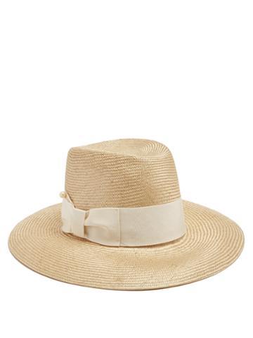 Federica Moretti Jes Faux-pearl-embellished Straw Hat