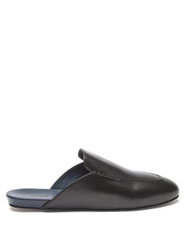 Matchesfashion.com Inabo - Slowfer Leather And Suede Slippers - Mens - Black