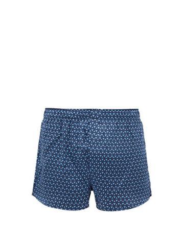 Matchesfashion.com Derek Rose - Geometric Print Silk Boxer Shorts - Mens - Navy