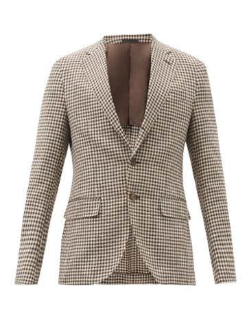 Matchesfashion.com Caruso - Aida Single-breasted Checked Wool-blend Blazer - Mens - Brown White