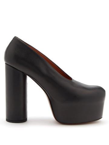 Vetements - Column-heel Leather Platform Pumps - Womens - Black