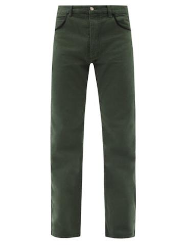 Matchesfashion.com Phipps - Satin-trimmed Straight-leg Jeans - Mens - Green