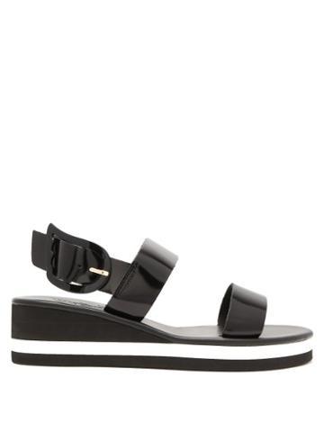 Matchesfashion.com Ancient Greek Sandals - Clio Rainbow Wedge Heel Patent Leather Sandals - Womens - Black