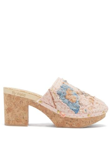 Ladies Shoes By Walid - 1920s Embroidered Linen & Cork Platform Mule - Womens - Pink Multi