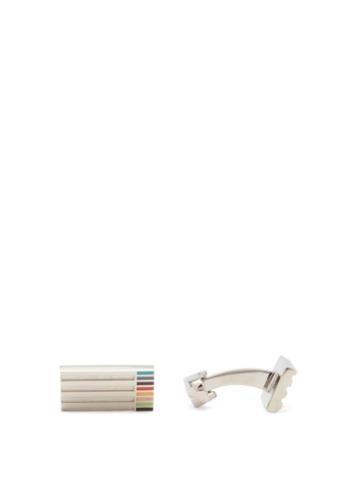 Matchesfashion.com Paul Smith - Artist-stripe Enamelled-metal Cufflinks - Mens - Silver Multi