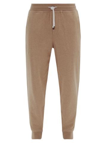Matchesfashion.com Brunello Cucinelli - Ribbed-cuff Cotton-blend Track Pants - Mens - Beige