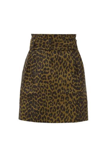 Matchesfashion.com Ganni - Paperbag-waist Leopard-jacquard Skirt - Womens - Leopard