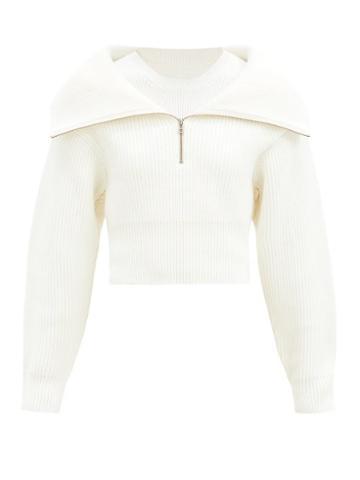 Matchesfashion.com Jacquemus - Risoul Half-zip Ribbed Wool Sweater - Womens - Cream